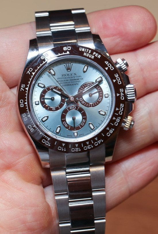 - Brand: Rolex - Series: Rolex Daytona - Condition: Certified Pre-Owned with Box & Booklets - Gender: Mens - Case Material: Platinum - Case: Diameter 40mm - Dial: Ice Blue Dial Bezel: Chesnut brown mo