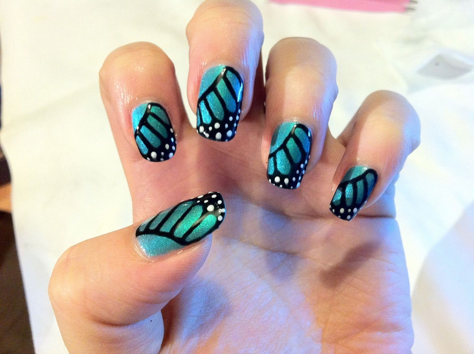 Brush Up And Polish Up Cnd Shellac Nail Art Monarch Butterfly