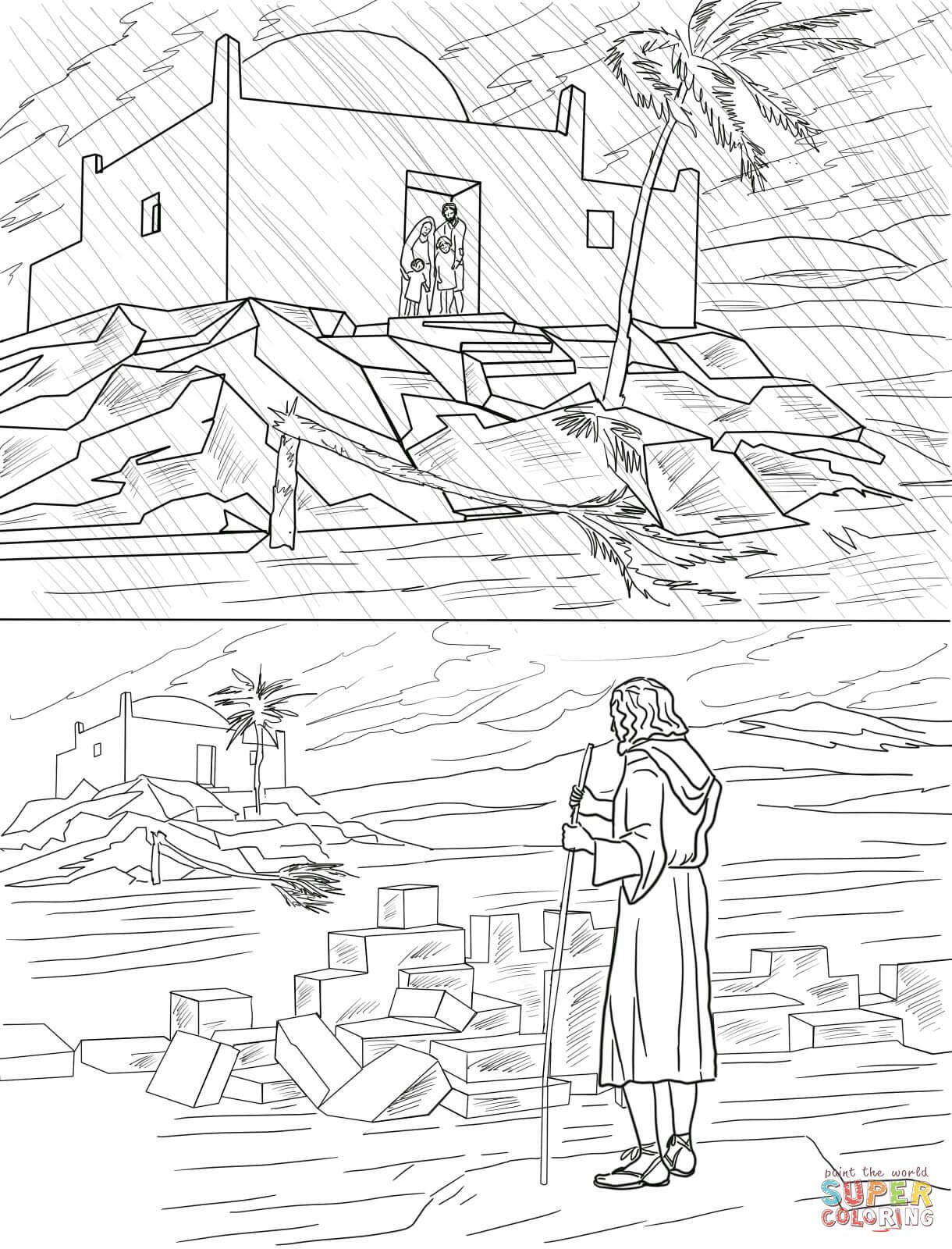 Parable Of The Two Builders Wise And Foolish Builders Coloring Page