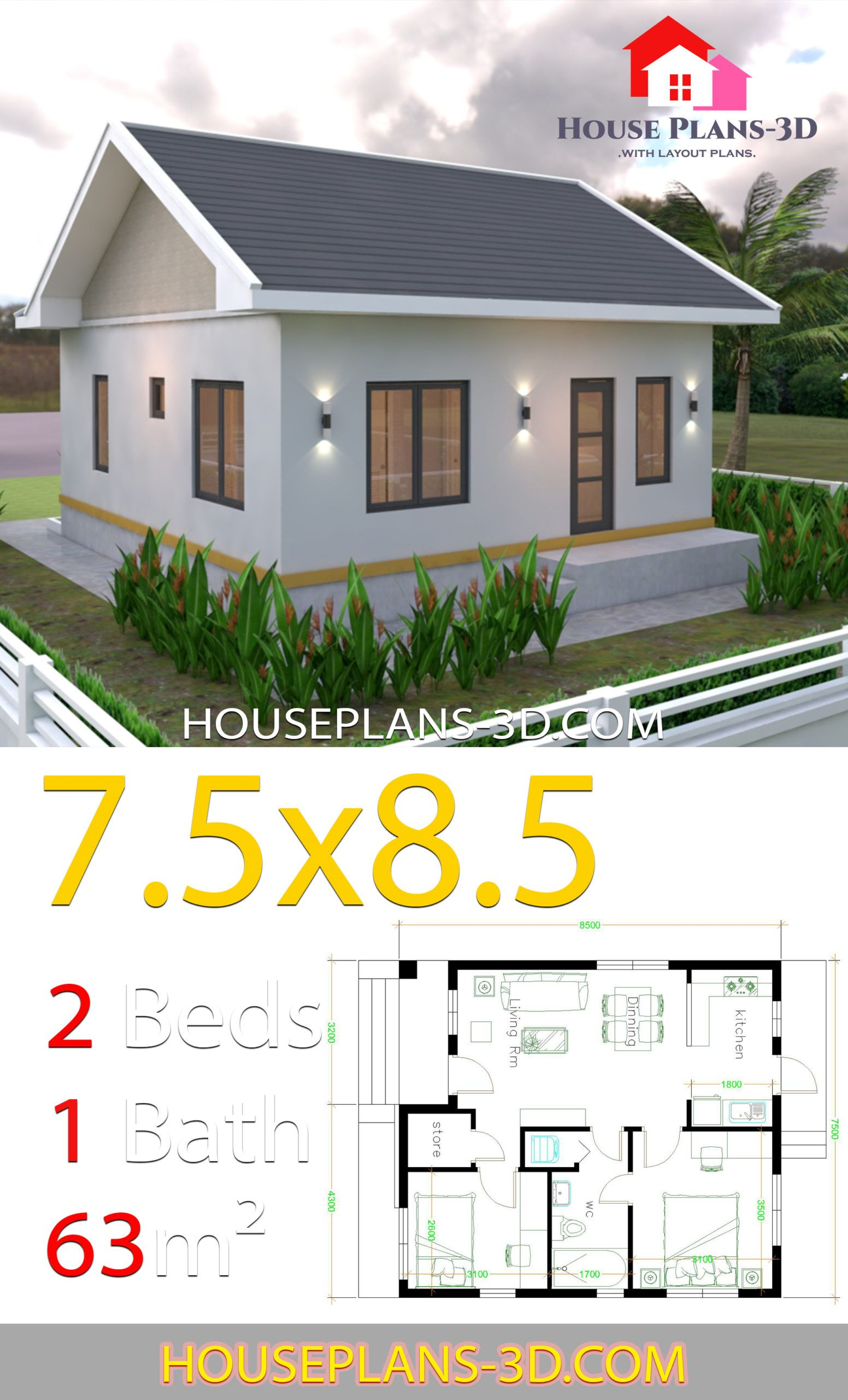 House Plans 7 5x8 5m With 2 Bedrooms Gable Roof House Plans 3d Gable Roof House Small House Exteriors House Roof