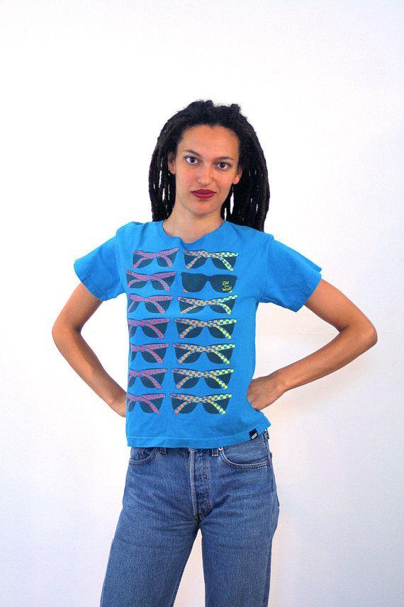 90s Vans T-Shirt S, Vans Off The Wall Tee, Sunglasses Design Shirt, Skateboard Tee, Grunge Rock Fashion Tee, Blue Vintage Cut Off T-Shirt