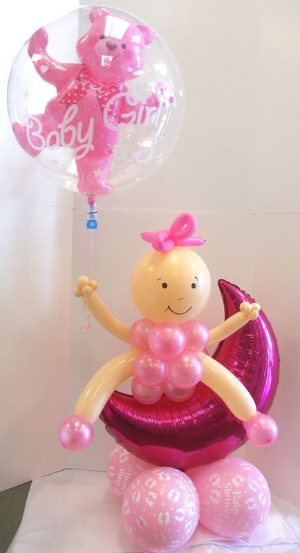 Super cute baby girl balloon centerpiece with double for Balloon decoration for baby girl