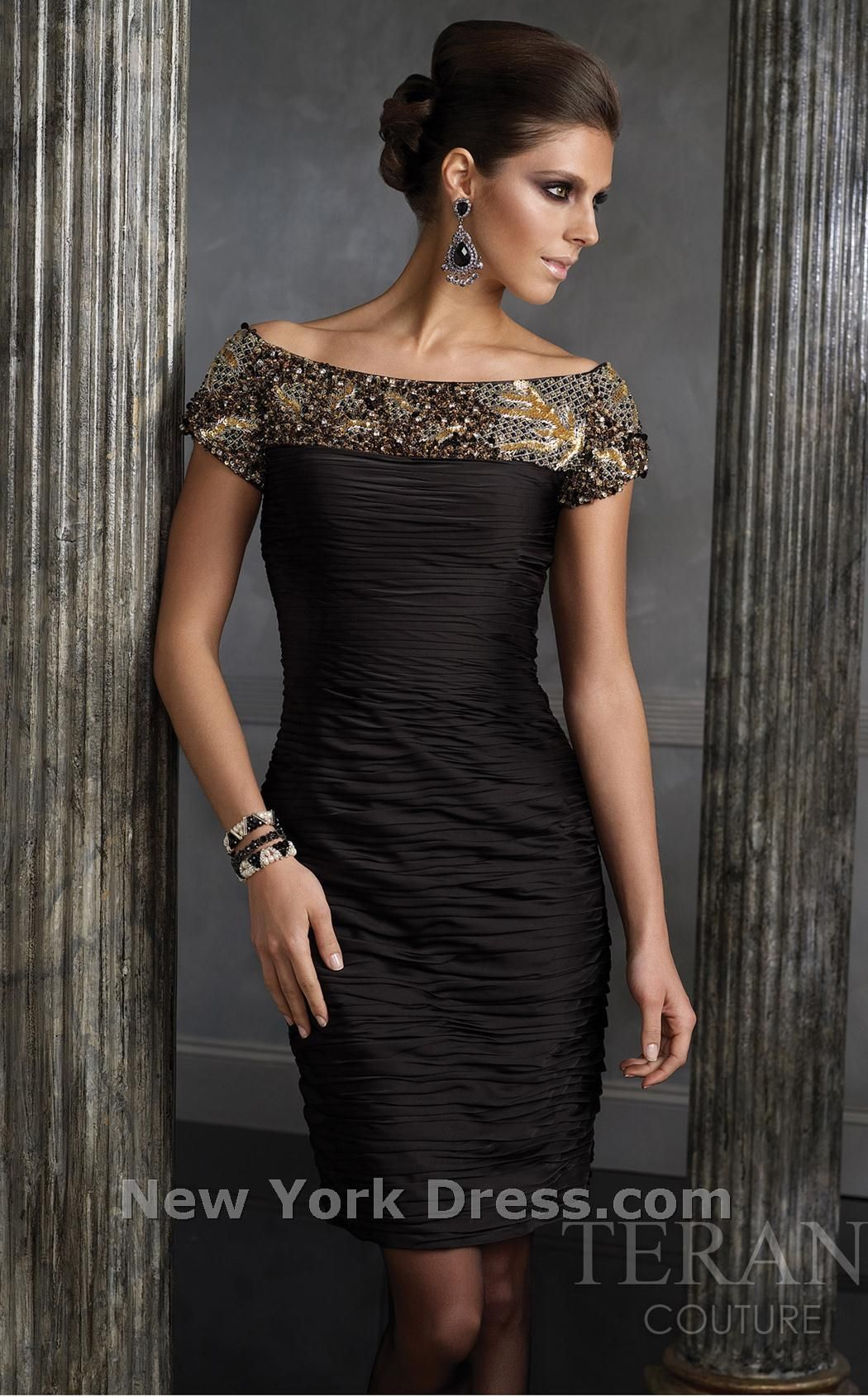 Terani 35056C thumbnail ruched black off the shoulder cocktail dress by Terani  newyorkdress.com