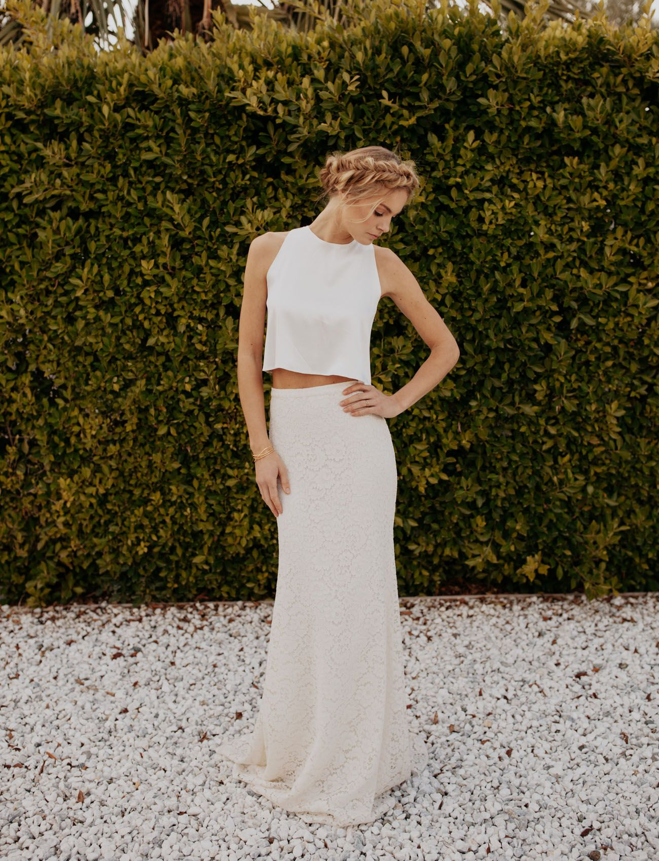 Two piece crop top wedding dress  The SpringSummer  Collection from Sarah Seven  Gala