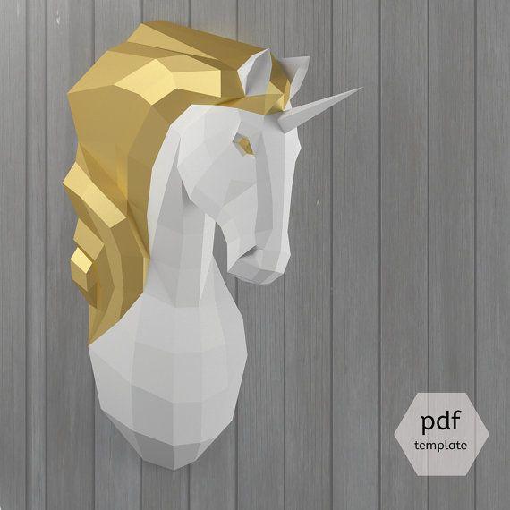 Licorne t te de mur mount make your own 3d papercraft par oxygami anniv titine 6ans - Papier toilette licorne ...