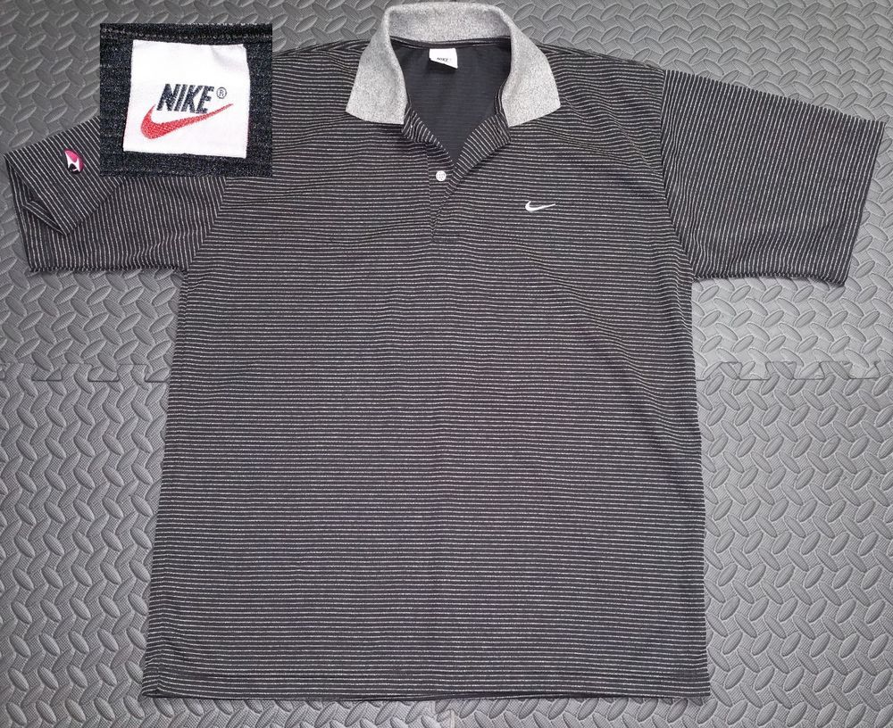 Vintage Nike Shirt Men S Large Retro Golf Polo 1990s Swoosh Black Striped Nike Shirts Vintage Nike Mens Shirts