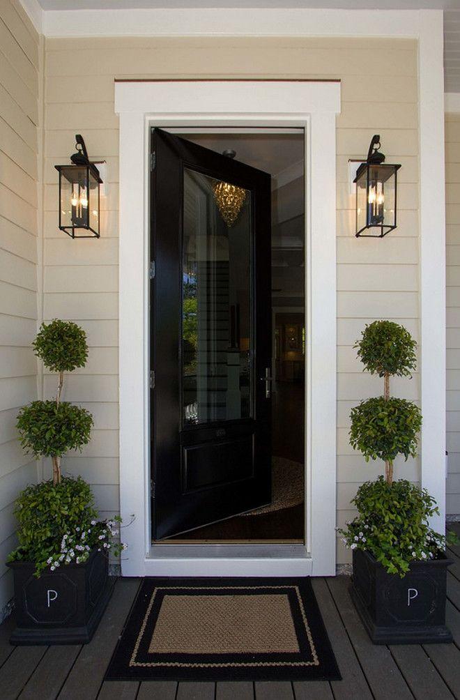 Benjamin moore jet black. black door paint color. front entry with ...