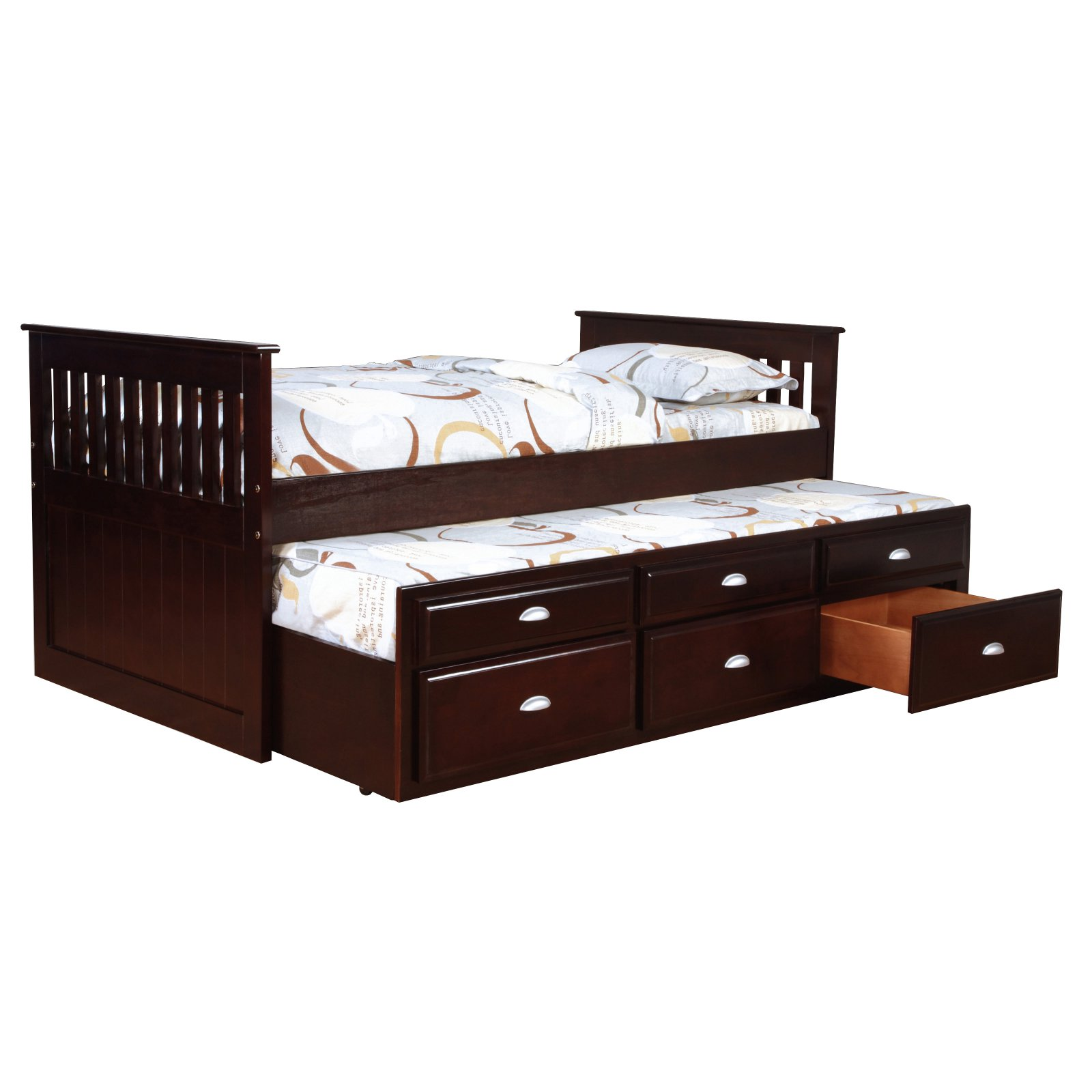 Bernards Twin Captains Bed With Trundle Trundle Bed Twin