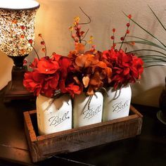 Fall Home Decor, Fall Decor, Fall Table Centerpiece, Fall Decoration, Rustic Home Decor, Painted Mason Jars, Mason Jar Decor, Fall Mason Jar
