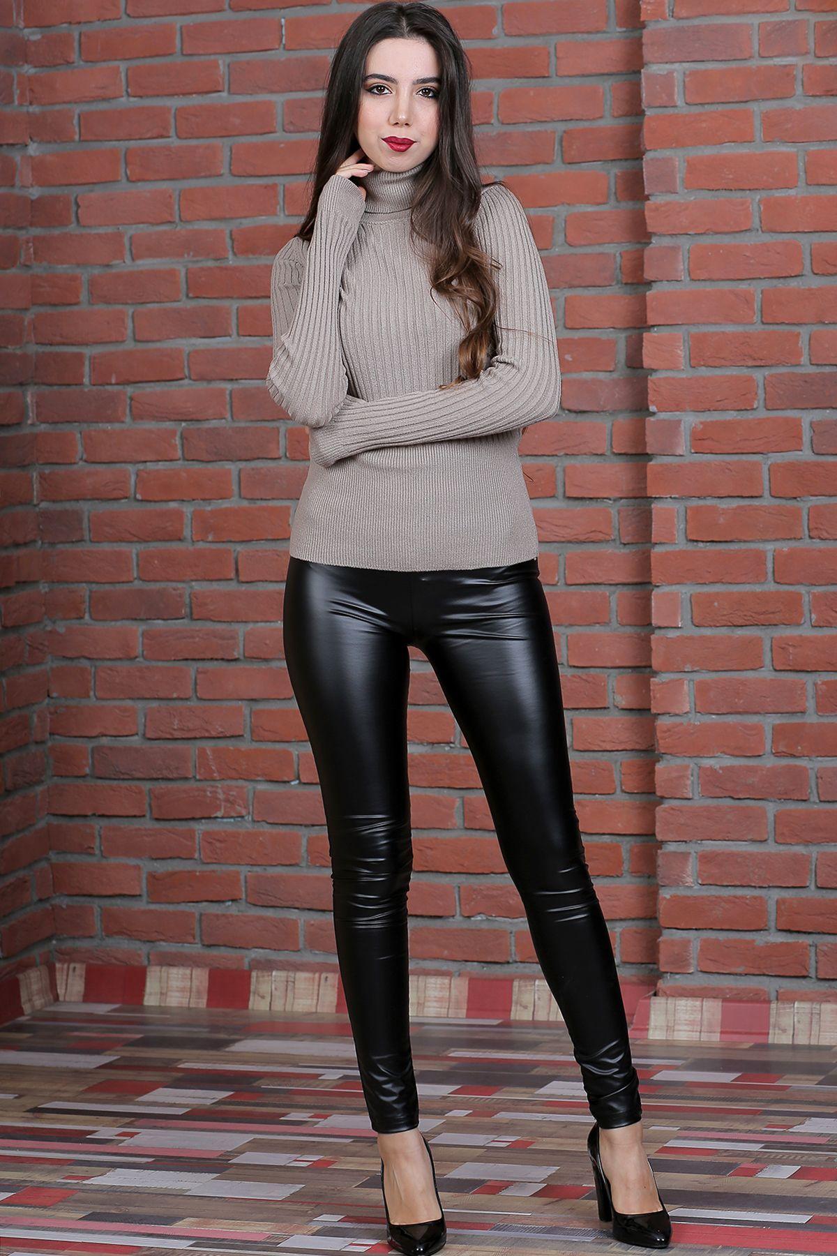 Genis Kemer Duz Bayan Deri Tayt Kadin Giyim Taytlar Moda
