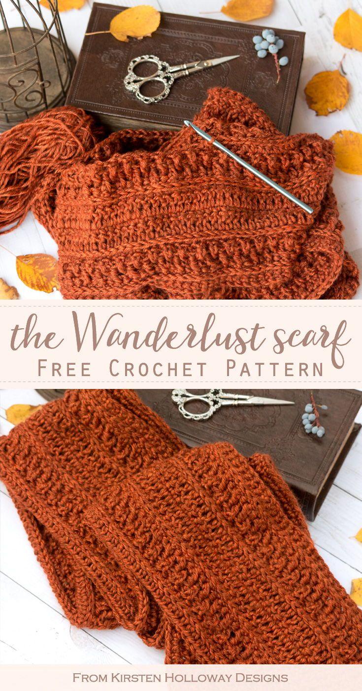 Wanderlust Scarf - Easy, Free Crochet Pattern for Men or Women