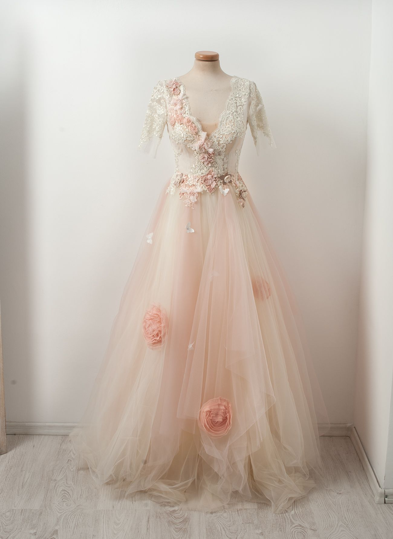Powder pink bridesmaid dress  A dessert made from powder pink roses on marzipan mousse tulle and