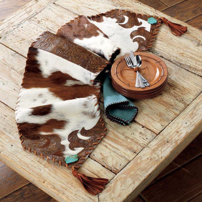Cowhide And Turquoise Table Runner   Large