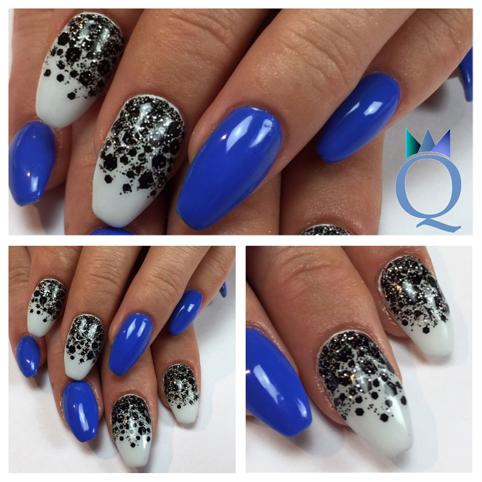 coffinnails #gelnails #nails #blue #iceblue #black #glitter ...