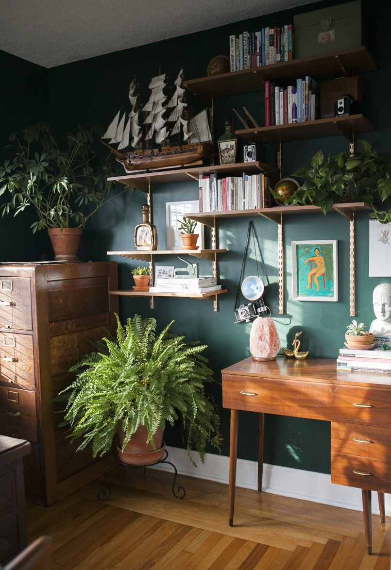 green home office Before & After: Hunter Green Home Office | vingettes pleasing to my eye | Green home offices