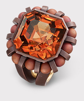 Hemmerle garnet - pink gold - copper Ring