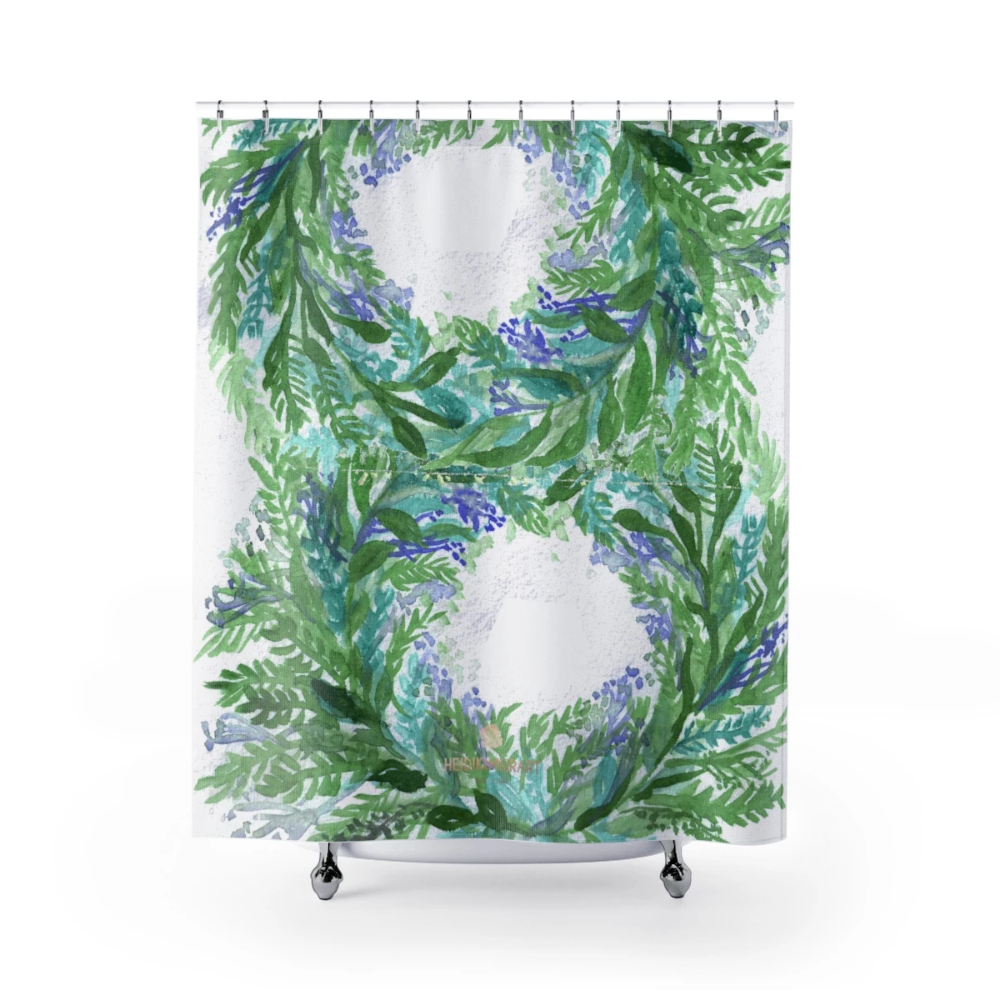 White Purple French Lavender Floral Print Designer Polyester