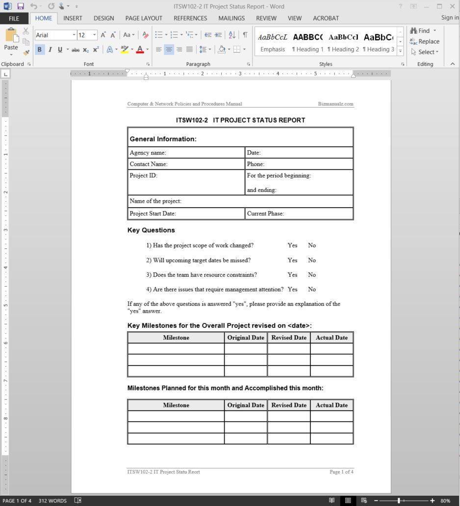 It Project Status Report Template Itsw102 2 With Regard To Software Development Status Report Project Status Report Progress Report Template Report Template