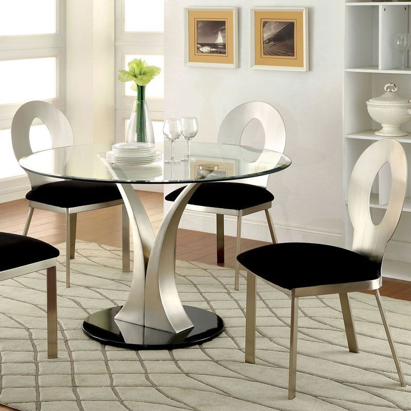 Valo Modern Style Stain Plated Round Dining Set Dining Room Sets