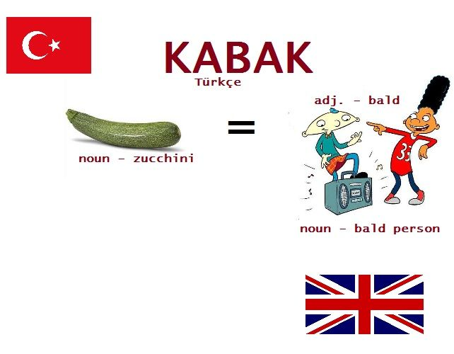 Kabak Zucchini Or Bald In Turkish Turkce Turkish Language Learn Turkish Language