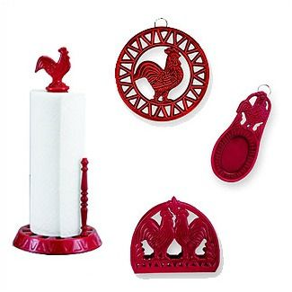 3 Red Rooster Kitchen Accessories Rooster Kitchen Decor Red