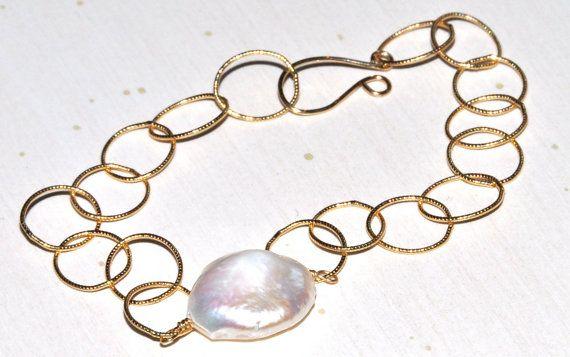 Coin Pearl & Gold Bracelet