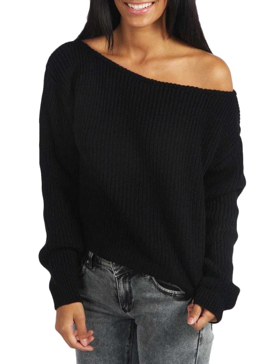 Fashion Off Shoulder Ribbed Knit Pullover Sweater | Korean fashion ...