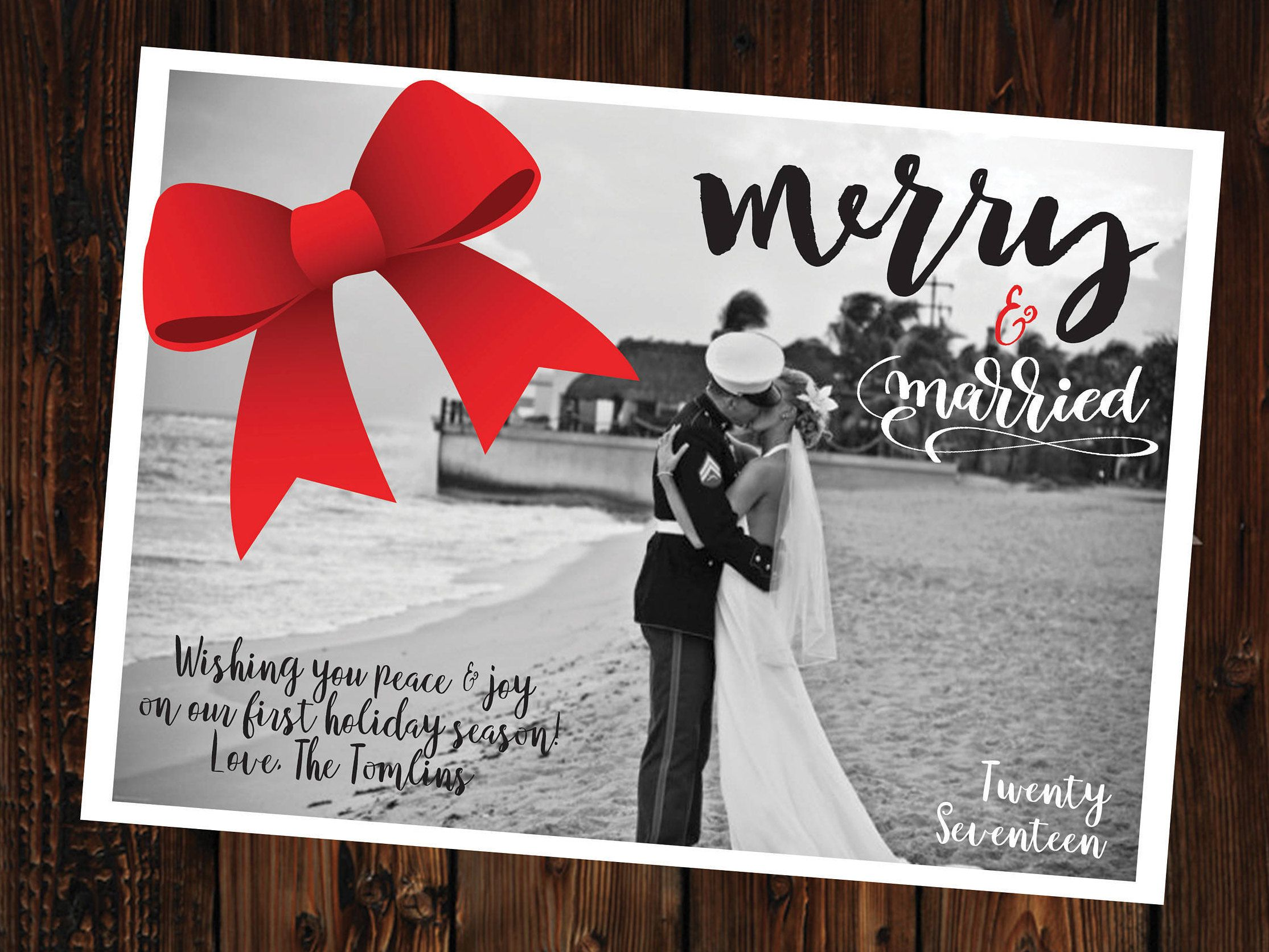 Newlywed First Christmas Photo Card Customized Black White Red