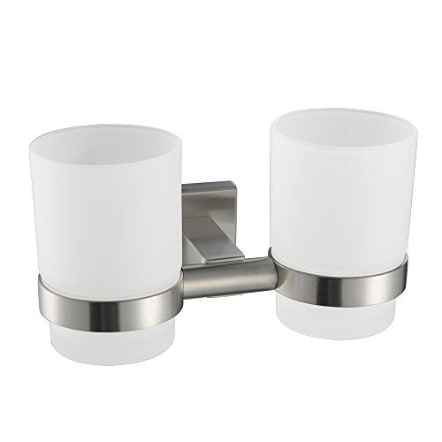 Angle Simple Gb7907 Bathroom Double Tumbler Holders Wall Mounted Toothbrush Holder Brushed Steel