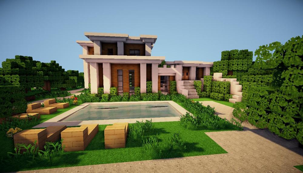 Construction D Une Maison Moderne A Minecraft Maison Zenidees En 2020 Maison Minecraft Maisons Minecraft Faciles Maison Moderne Minecraft