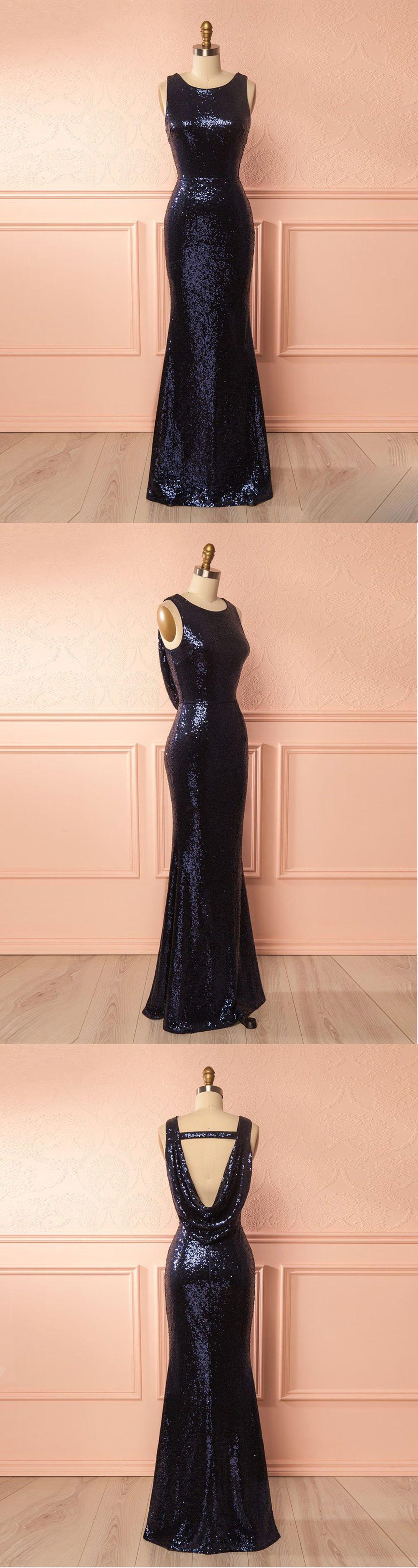 Navy blue sequins long slim open back halter evening dress from