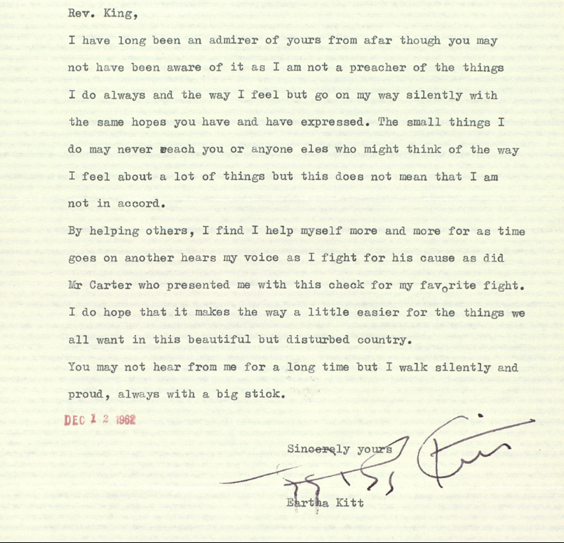Letter From Eartha Kitt To Mlk Where She Expresses Her Admiration