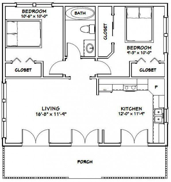 30x26 House -- #30X26H2C -- 780 Sq Ft