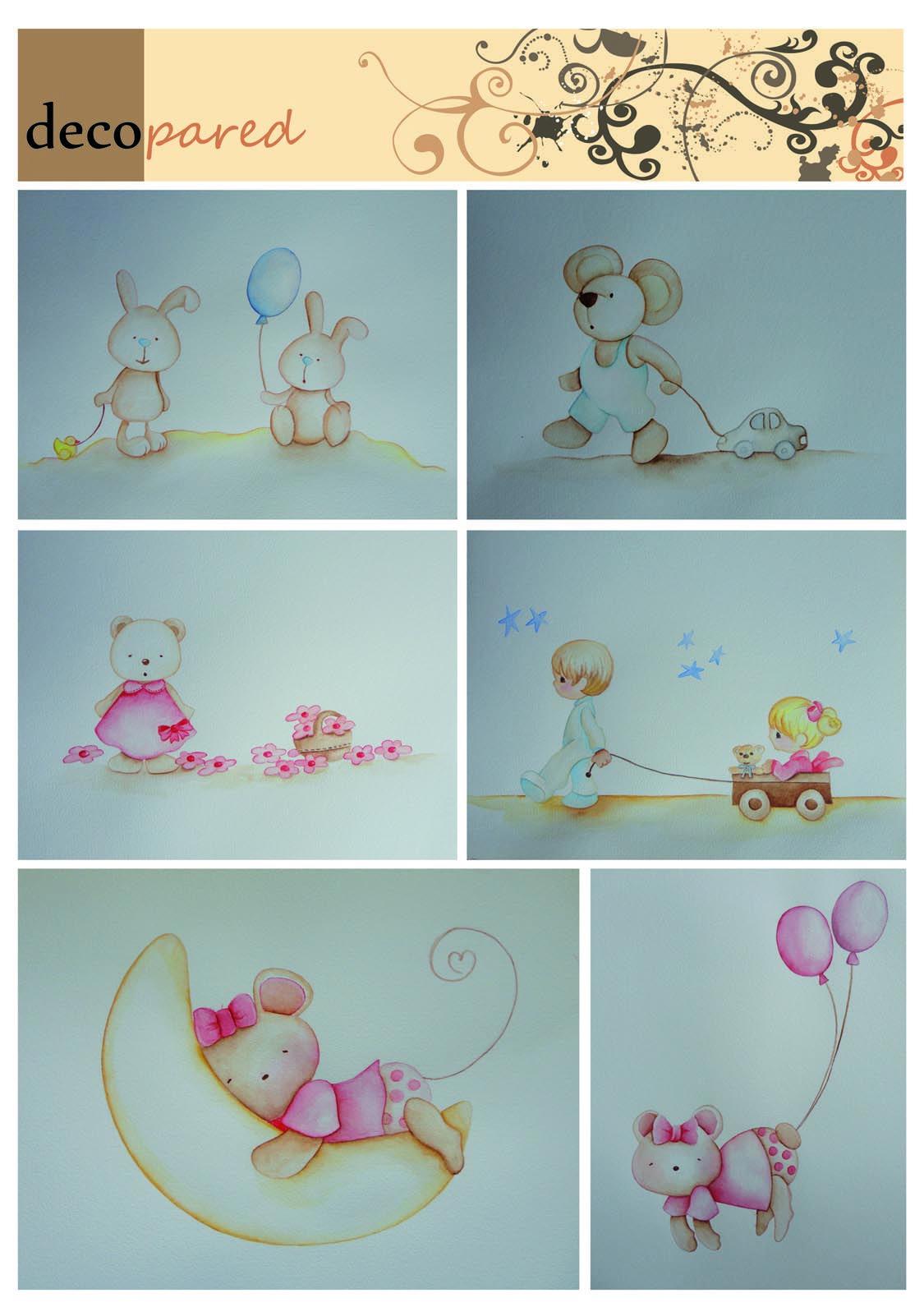 Murales infantiles de conejitos, ositos, ratoncitos... en tonos muy ...