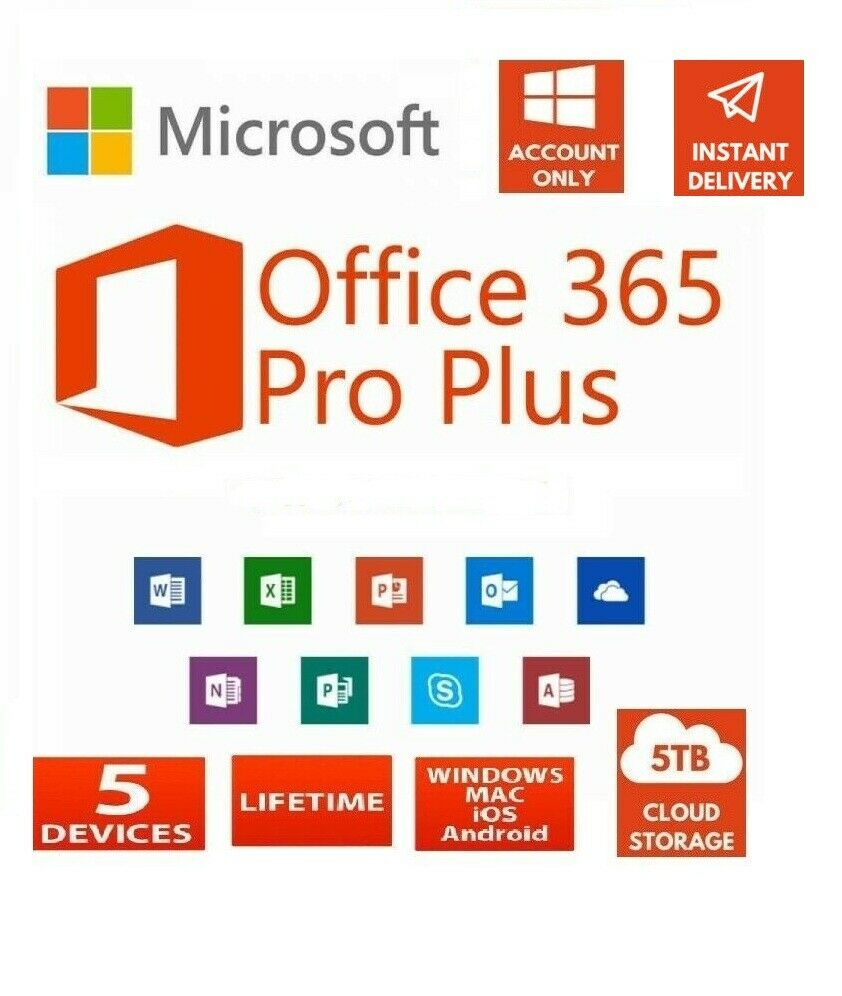 Microsoft Office 365 Pro Plus 2019 Account Lifetime 5 Devices 5tb Cloud In 2020 With Images Microsoft Office Office 365 Microsoft