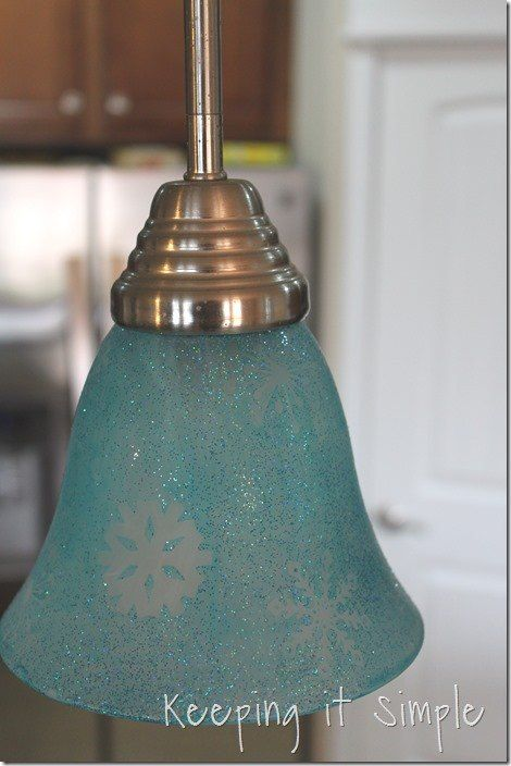 DIY Holiday Turquoise Lights with Glitter and Snowflakes DIY is part of Diy pendant light, Chandelier diy crystal, Silver painted furniture, Painting light fixtures, Glass light shades, Glass light fixtures - DIY Holiday Turquoise Lights With Glitter and Snowflakes DIY  You know when you come up with (or learn) an idea that is so easy and so inexpensive that you wa