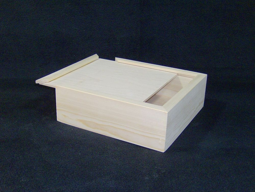 12 X 12 X 3 Unfinished Sliding Lid Wood Wooden Craft Box Boxes Handmade Office Supply Crafts Organize Trinkets Craft Box