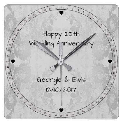 Gray Flowers Hy 25th Wedding Anniversary Square Wall Clock Gifts Ideas Diy Celebration Cyo