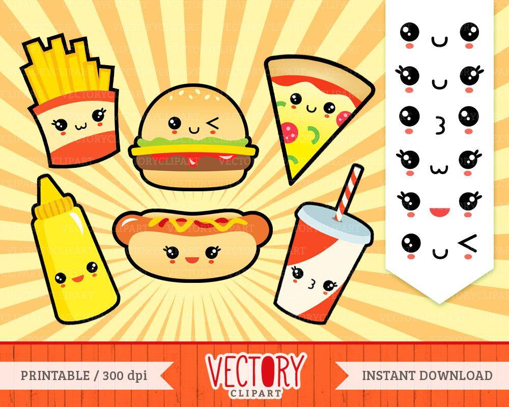 Uncategorized Cute Kawaii Food 12 kawaii fast food cute set junk with face emoticons kawaii