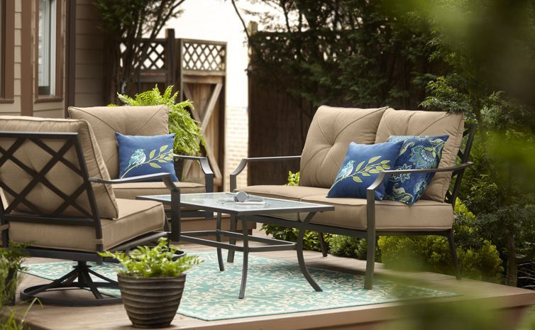 Lowes I Like The Back X S Image Of The Vinehaven Patio Conversation Set With A Loveseat Conversation Set Patio Modern Furniture Table Outdoor Furniture Sets