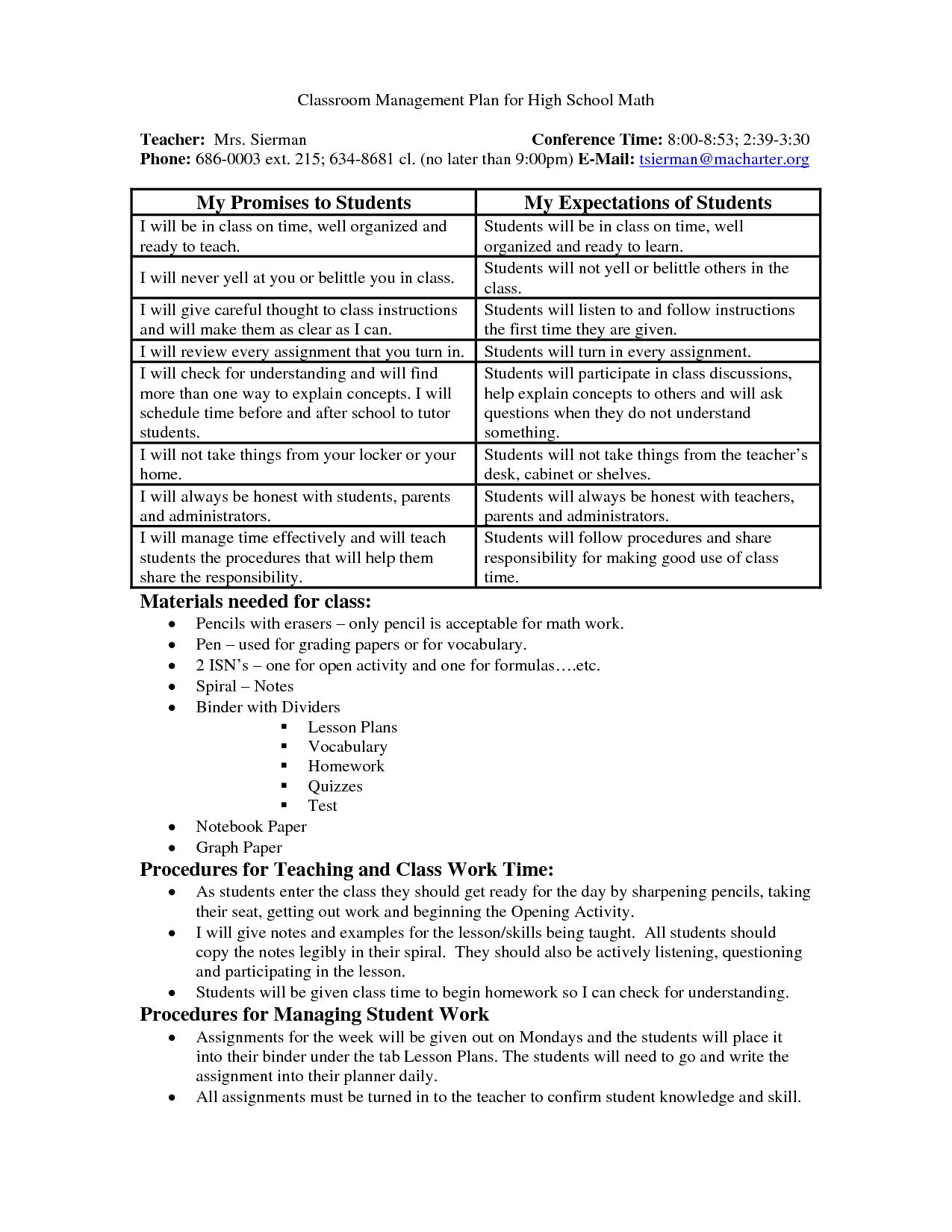 Discipline Worksheet For High School Teachers