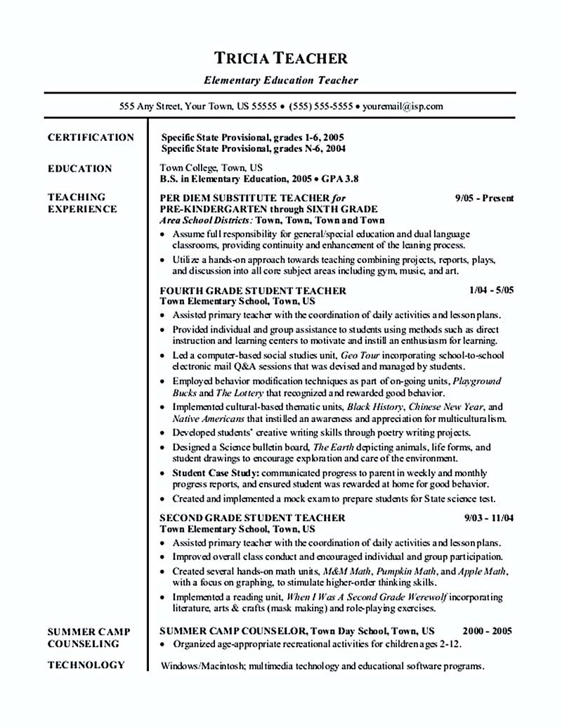 example of teacher resume Teacher resume emphasizes the way an ...