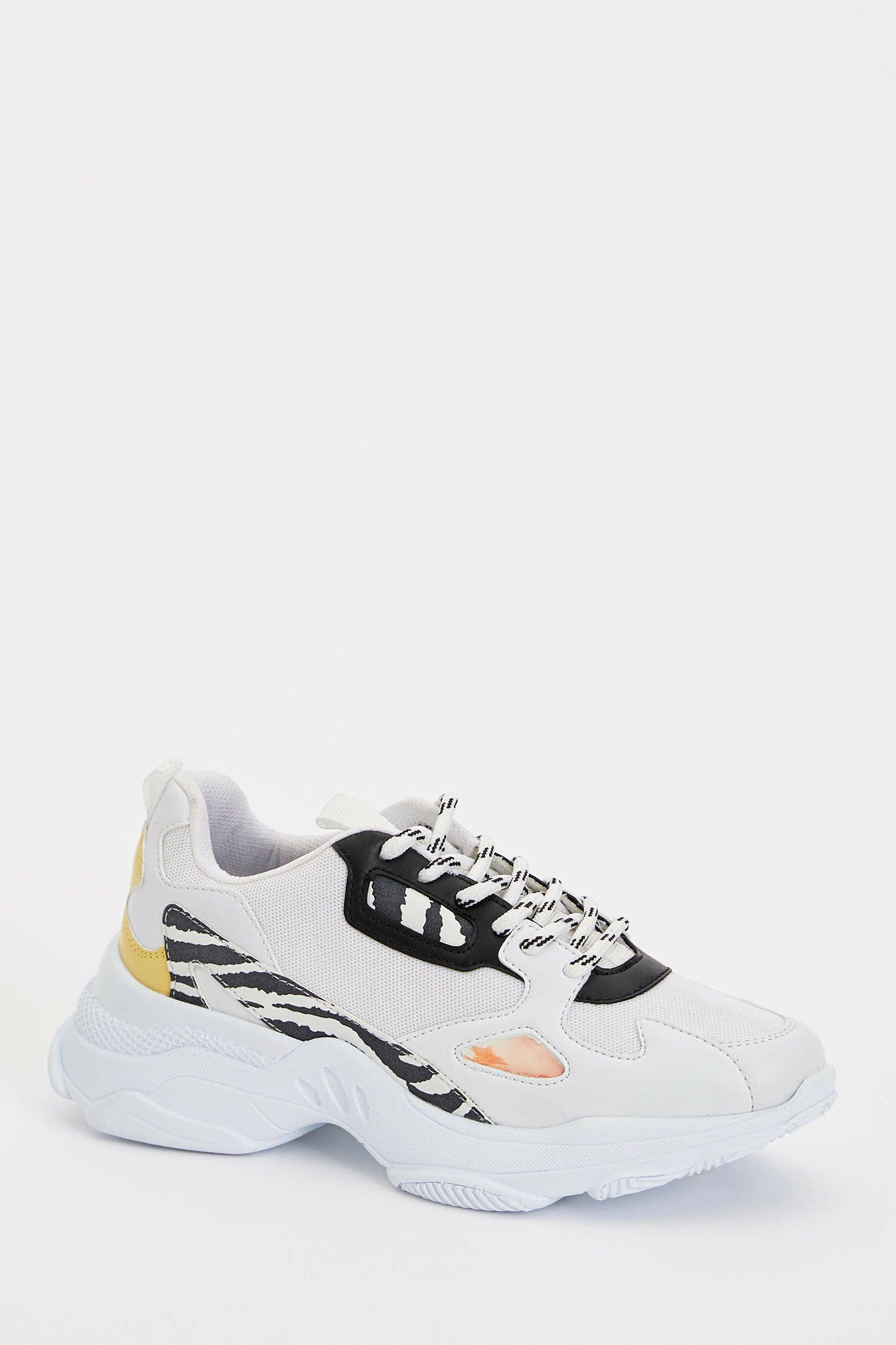 Beyaz Kadin Yuksek Taban Bagcikli Sneaker 1074687 Defacto 2020 Sneaker Tabata Kadin