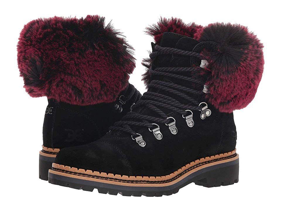 9fc8c59c3 Sam Edelman Bowen Women s Shoes Black Raspberry Wine Velutto Suede  Leather Opulent Fur
