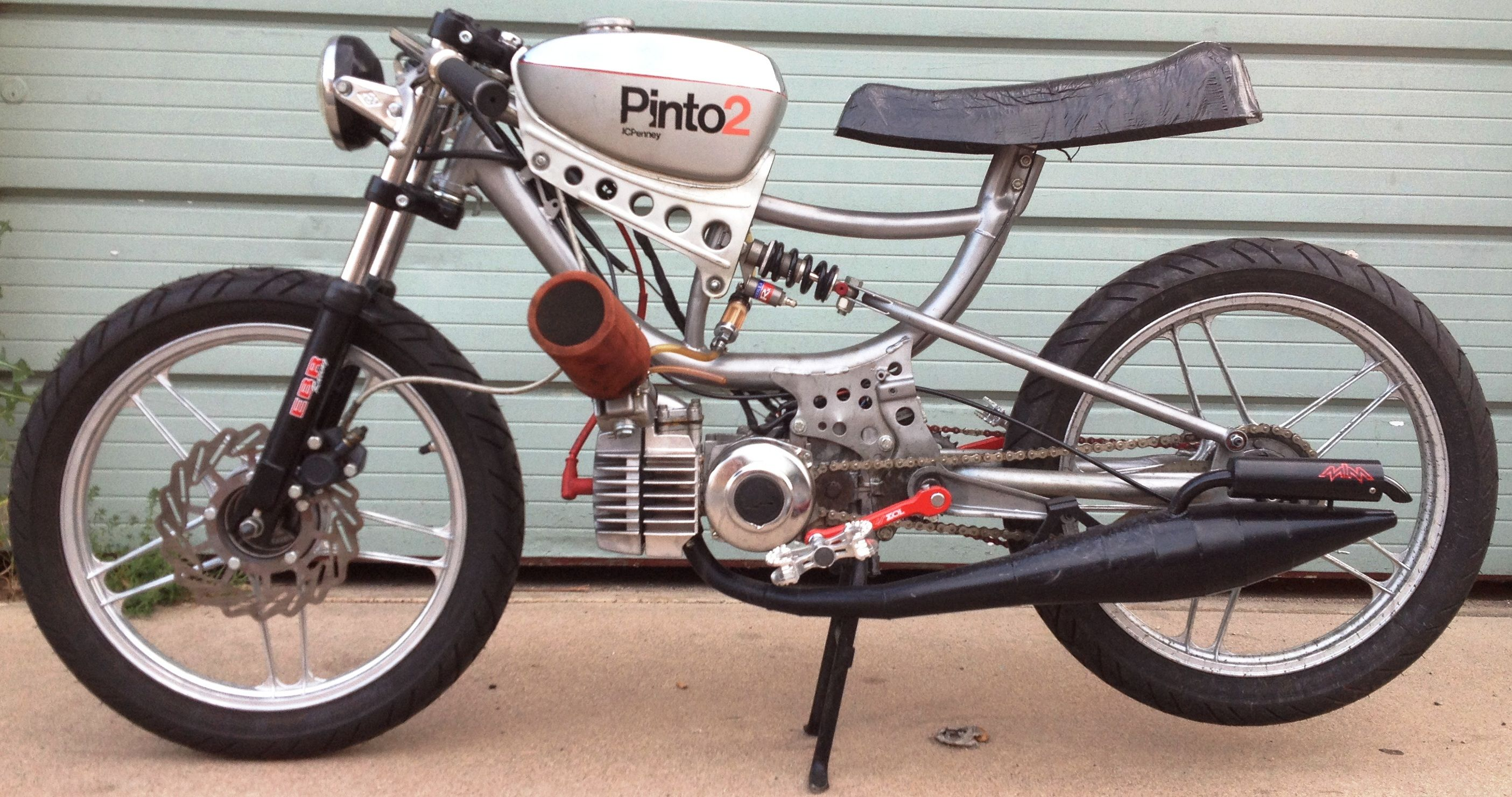 Custom Pinto moped with EBR crossbar and forks | cool vehicles