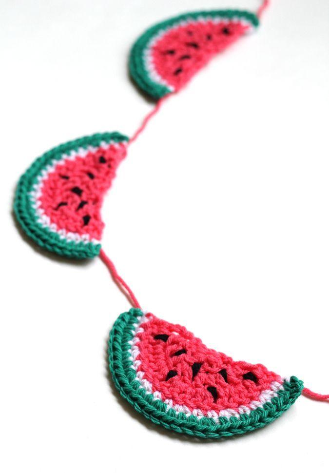 Crochet Watermelon Bunting | Guirnaldas, Banderin y Tejido