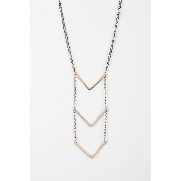 Jessica DeCarlo Long Chevron Necklace (130 CAD) ❤ liked on Polyvore featuring jewelry, necklaces, gold, chain pendants, chevron necklace, long pendant, ladder necklace and long necklace