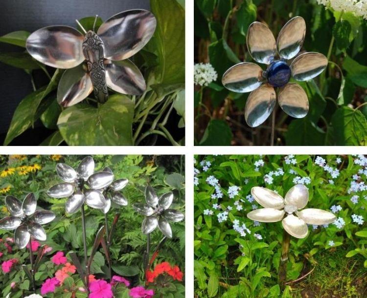 Blumen und Schmetterling aus Löffeln selber basteln Garten - gartendeko selbst basteln