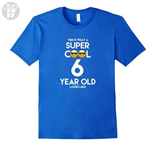 Mens 6 Year Old Birthday Cool Emoji Boy/Girl Tee Shirt 2XL Royal Blue - Birthday shirts (*Amazon Partner-Link)