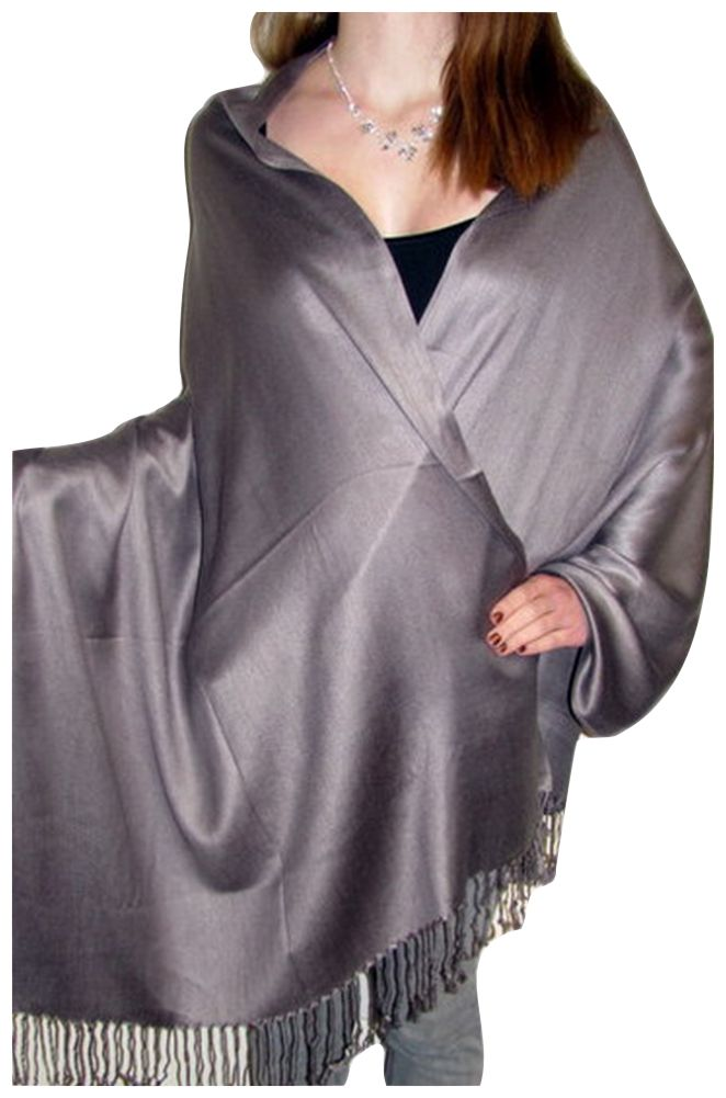 A pewter grey silk pashmina adds a touch of elegance class and ...